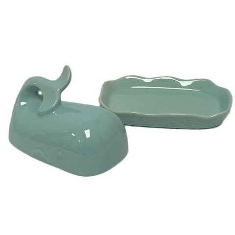 Aqua Whale Shaped Butter Dish With Lid