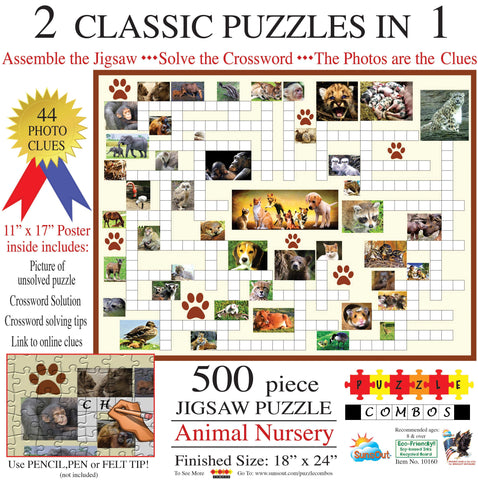 Animal Nursery - Crossword / Puzzle Combo