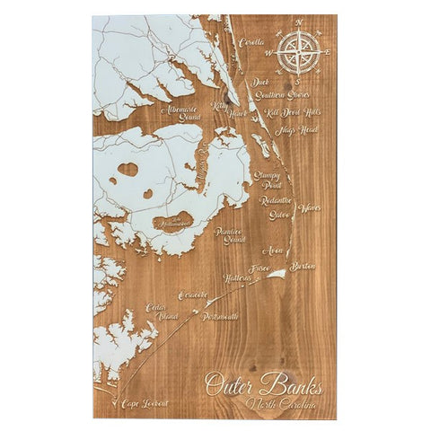 Outer Banks Whimsical Map - Seafoam
