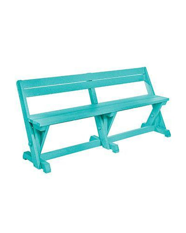 Dining Table Bench With Back, Turquoise