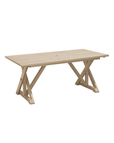 "Wide Dining Table with 2"" Umbrella Hole - Beige"