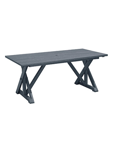 "Wide Dining Table with 2"" Umbrella Hole - Slate"