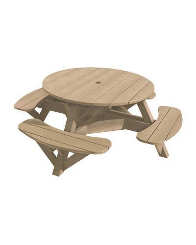 Round Picnic Table, Beige