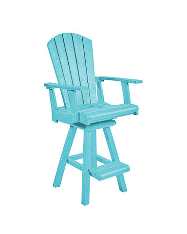 Swivel Pub Arm Chair, Aqua