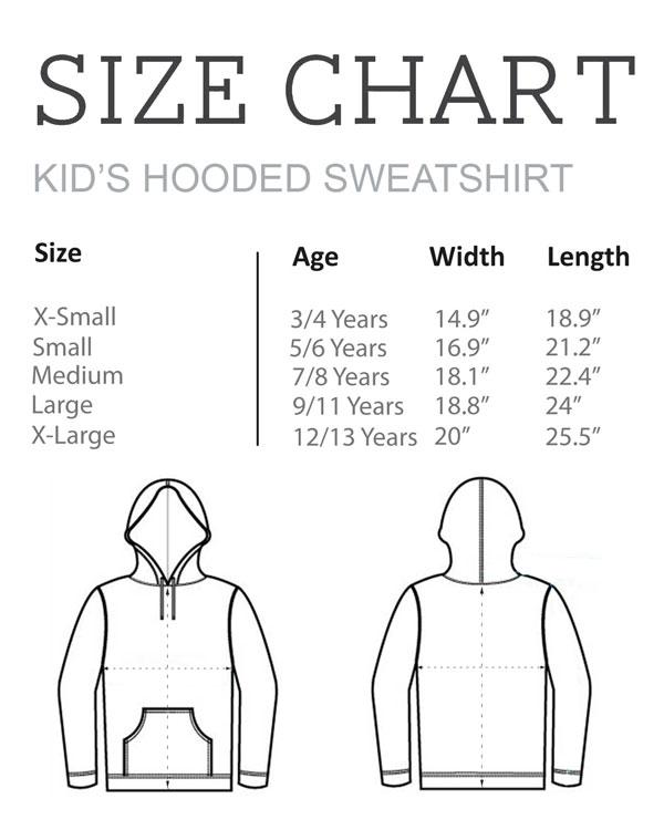Size Chart - Kid's Hooded Sweatshirt