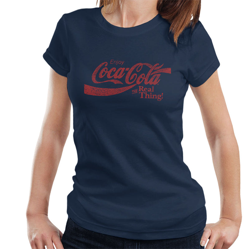 Coca Cola The Real Thing Red Text Women's T-Shirt - POD66