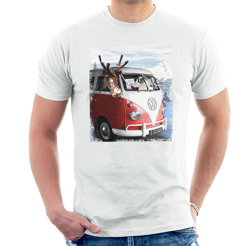 Volkswagen Santa And Reindeer T1 Camper Van Men's T-Shirt