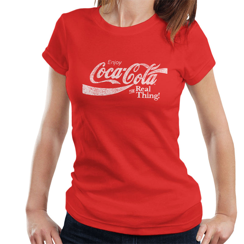 Coca Cola The Real Thing White Text Women's T-Shirt