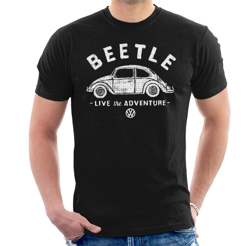 Official Volkswagen Beetle White Live The Adventure Men's T-Shirt