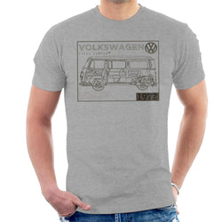 Official Volkswagen Type 2 Camper Plans Dark Text Men's T-Shirt - POD66