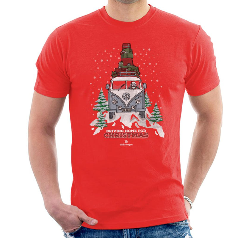 Official Volkswagen Christmas Camper White Text Men's T-Shirt - POD66