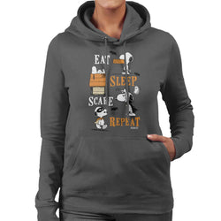 Peanuts Eat Sleep Scare Repeat Halloween Women's Hooded Sweatshirt - POD66