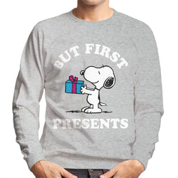 Peanuts Christmas But First Presents Snoopy Men's Sweatshirt - POD66