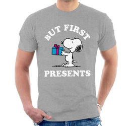 Peanuts Christmas But First Presents Snoopy Men's T-Shirt - POD66