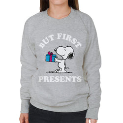 Peanuts Christmas But First Presents Snoopy Women's Sweatshirt - POD66