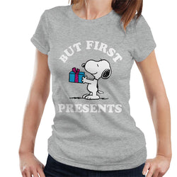 Peanuts Christmas But First Presents Snoopy Women's T-Shirt - POD66