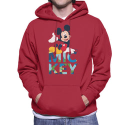 Disney Mickey Mouse Colour Text Men's Hooded Sweatshirt - POD66