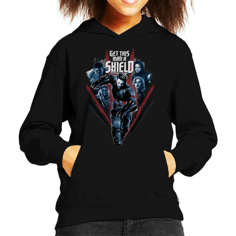 Marvel Avengers Infinity War Captain America Get This Man A Shield Kid's Hooded Sweatshirt - POD66