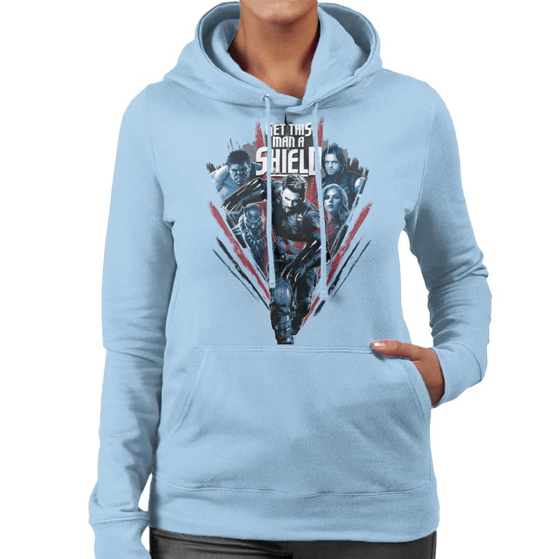 Marvel Avengers Infinity War Captain America Get This Man A Shield Women's Hooded Sweatshirt - POD66