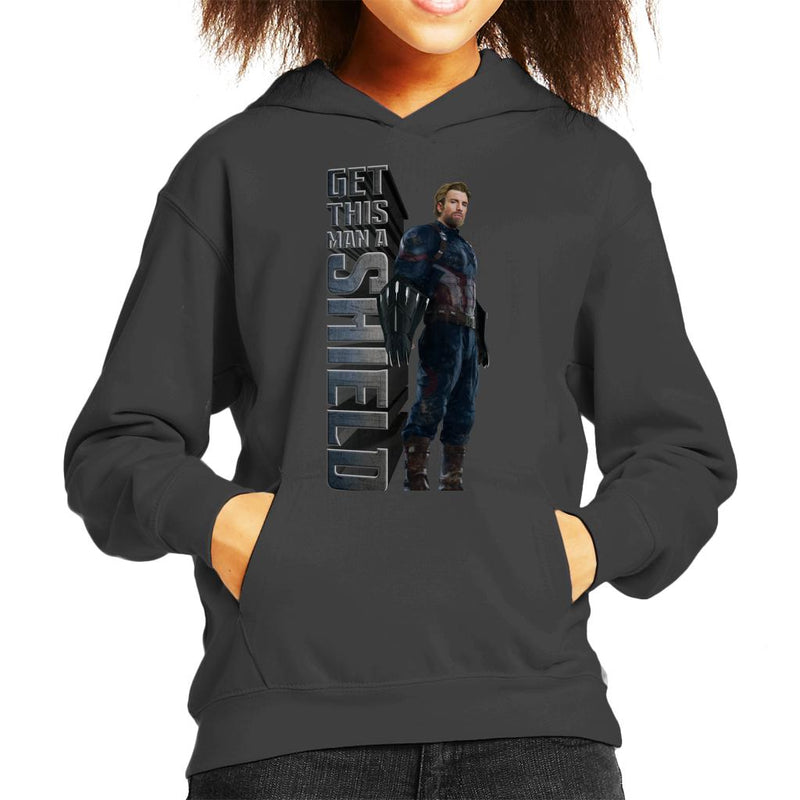 Marvel Avengers Infinity War Get This Man A Shield Captian America Kid's Hooded Sweatshirt - POD66
