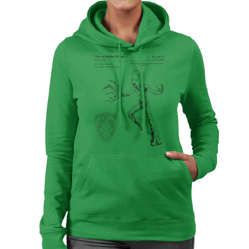 Marvel Guardians Of The Galaxy Teenage Groot Patent Women's Hooded Sweatshirt - POD66