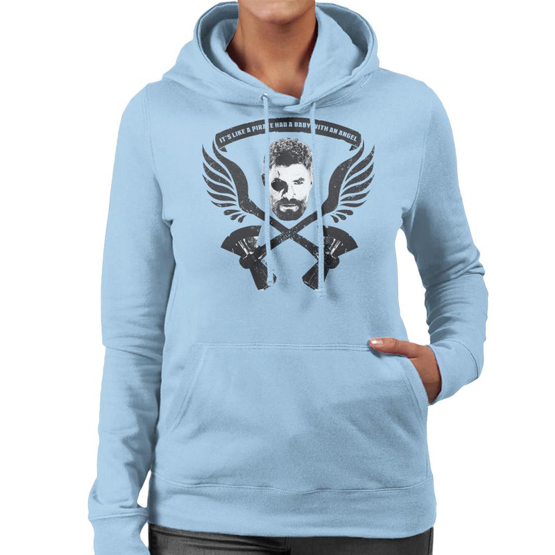 Marvel Avengers Infinity War Thor Pirate Had A Baby With An Angel Women's Hooded Sweatshirt - POD66