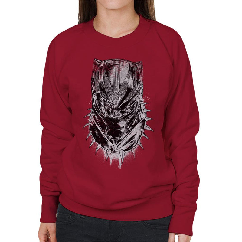 Marvel Black Panther Comic Book Mask Women's Sweatshirt - POD66