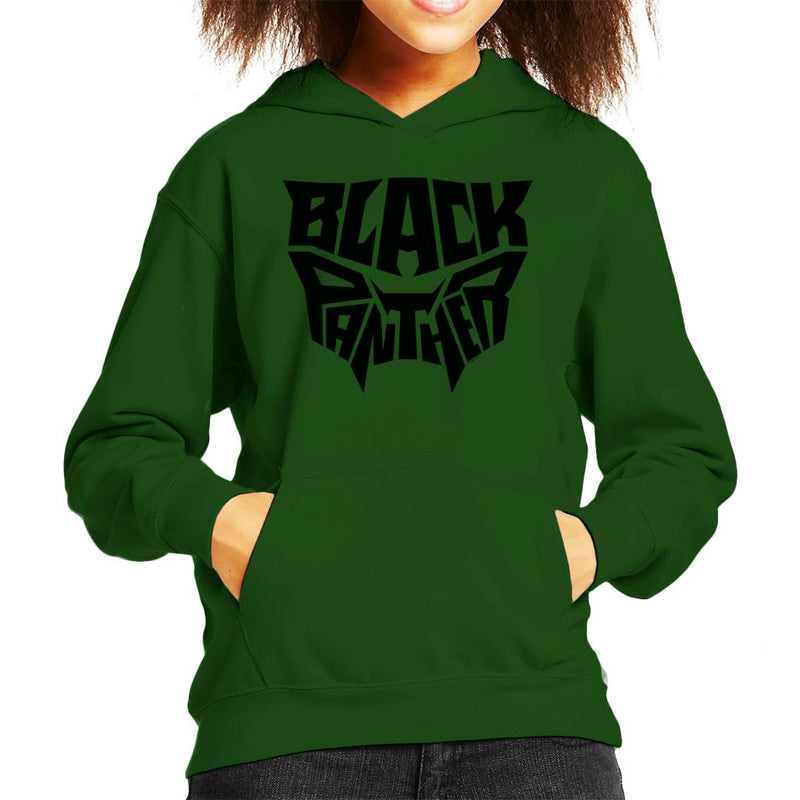 Marvel Black Panther Mask Text Kid's Hooded Sweatshirt - POD66