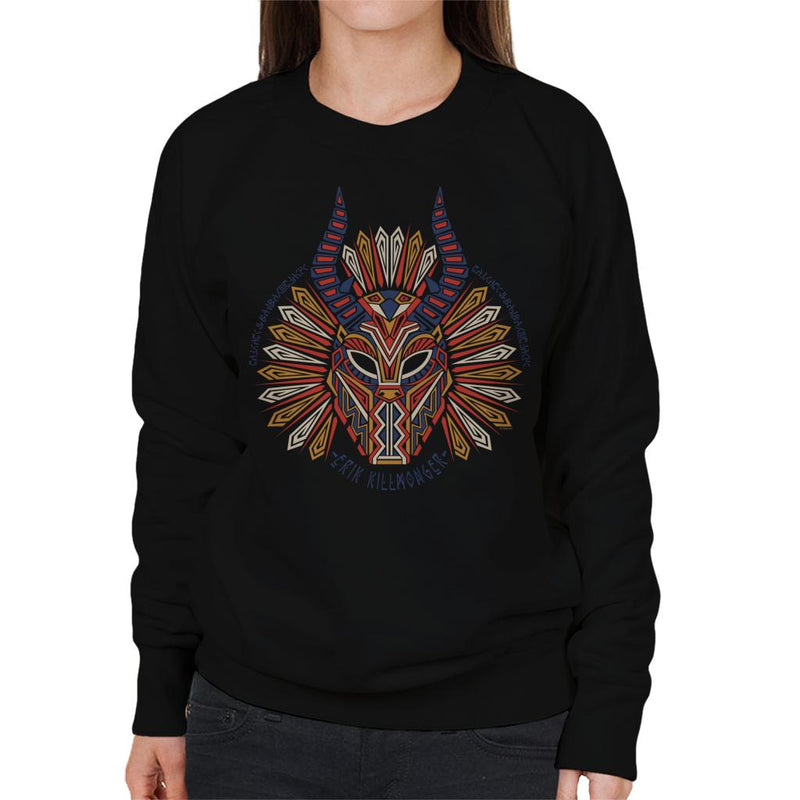 Marvel Black Panther Erik Killmonger Mask Pattern Women's Sweatshirt - POD66