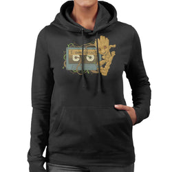 Marvel Guardians Of The Galaxy Baby Groot Cassette Tape Women's Hooded Sweatshirt - POD66