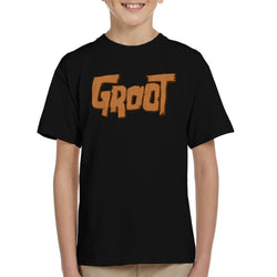 Marvel Guardians Of The Galaxy Groot Wood Text Kid's T-Shirt - POD66
