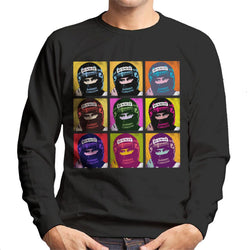 Motorsport Images Damon Hill Portuguese GP Helmet Pop Art Men's Sweatshirt - POD66
