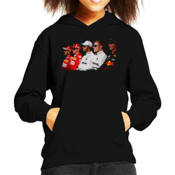 Motorsport Images Vettel Raikkonen Hamilton Botta & Verstappen Line Up Abi Dhabi GP Kid's Hooded Sweatshirt - POD66