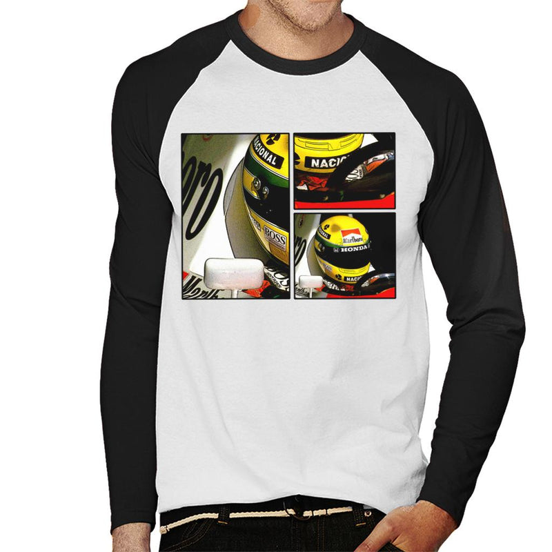 Motorsport Images Ayrton Senna McLaren Circuito Estoril Frame Art Men's Baseball Long Sleeved T-Shirt - POD66