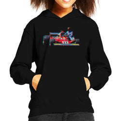 Motorsport Images Niki Lauda 312T2 Mechanic Lift Kid's Hooded Sweatshirt - POD66