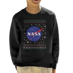 The NASA Classic Insignia Christmas Knit Pattern Kid's Sweatshirt - POD66