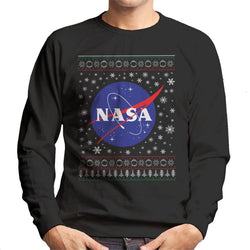 The NASA Classic Insignia Christmas Knit Pattern Men's Sweatshirt - POD66