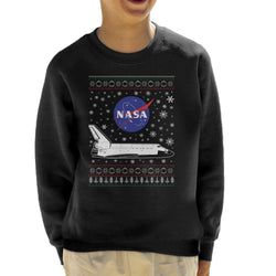 NASA Logo And Shuttle Christmas Knit Pattern Kid's Sweatshirt - POD66