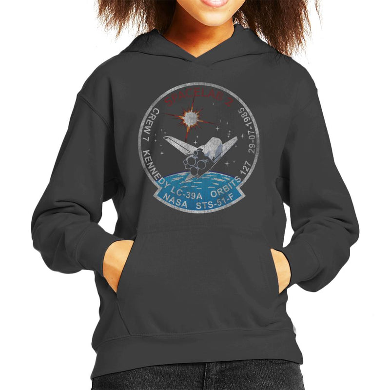 NASA STS 51 F Challenger Mission Badge Distressed Kid's Hooded Sweatshirt - POD66