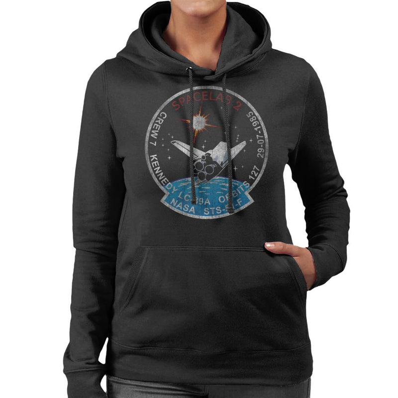 NASA STS 51 F Challenger Mission Badge Distressed Women's Hooded Sweatshirt - POD66