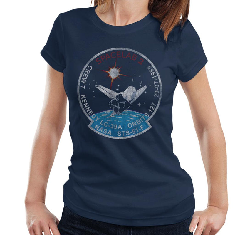 NASA STS 51 F Challenger Mission Badge Distressed Women's T-Shirt - POD66