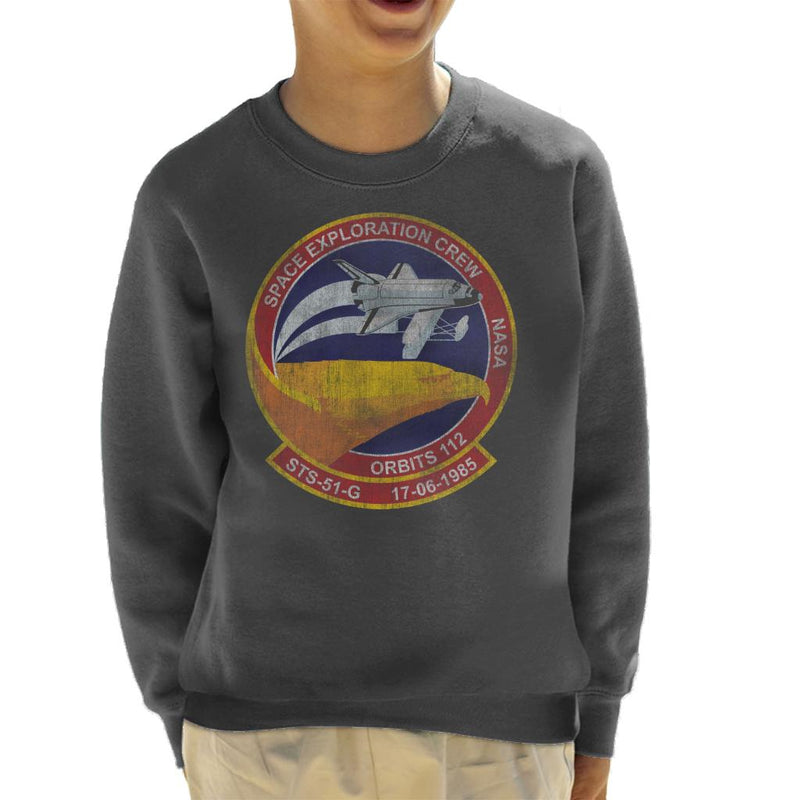 NASA STS 51 G Discovery Mission Badge Distressed Kid's Sweatshirt - POD66