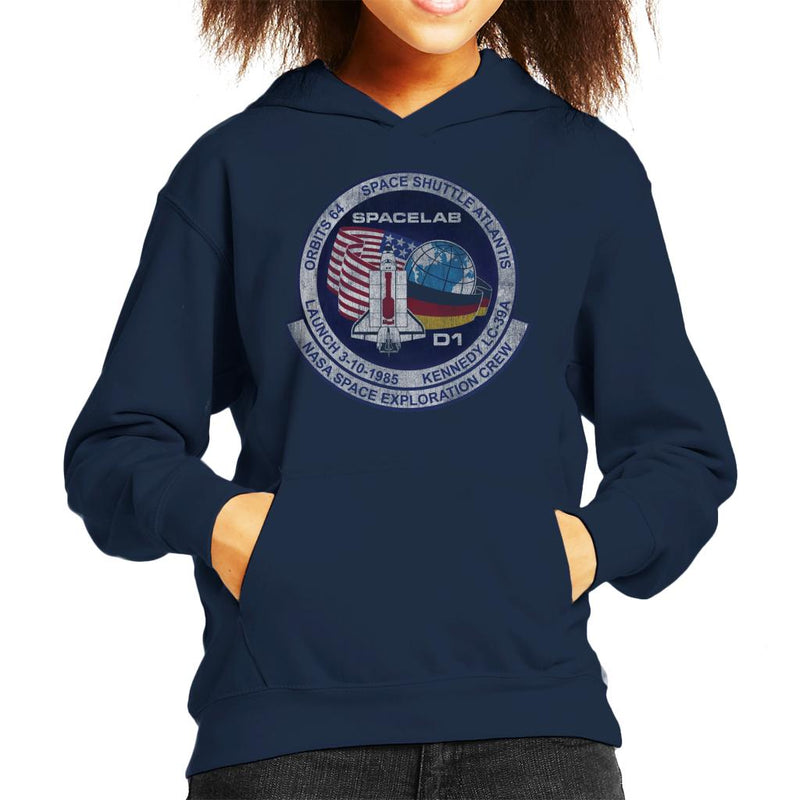 NASA STS 61 A Challenger Mission Badge Distressed Kid's Hooded Sweatshirt - POD66