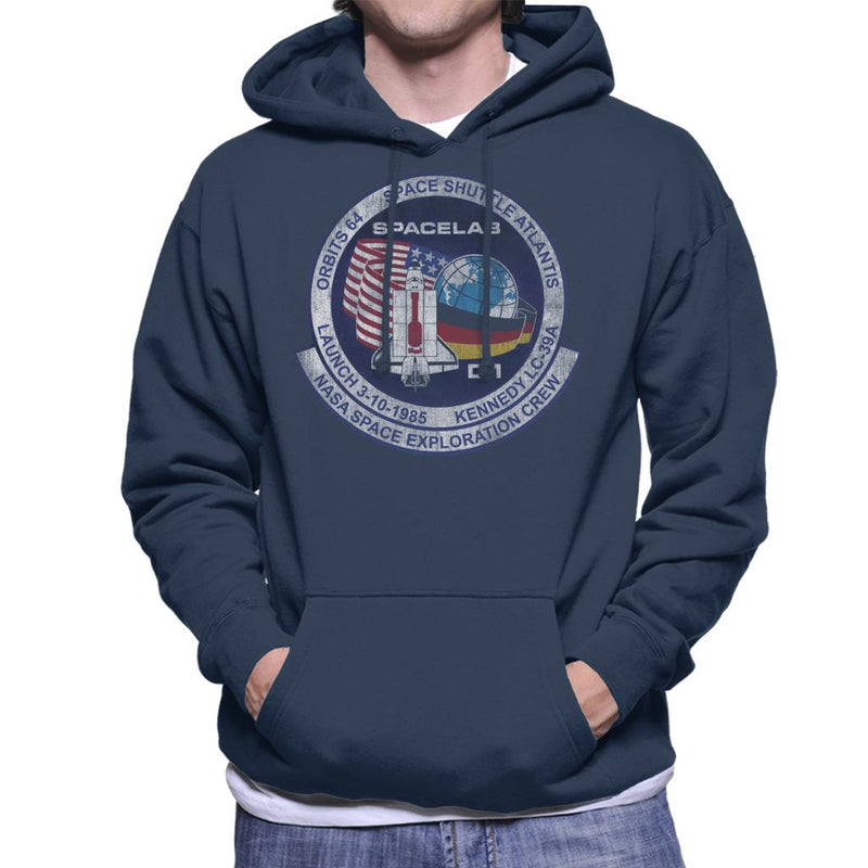 NASA STS 61 A Challenger Mission Badge Distressed Men's Hooded Sweatshirt - POD66