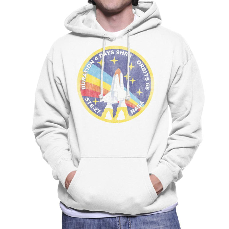 NASA STS 27 Atlantis Mission Badge Distressed Men's Hooded Sweatshirt - POD66