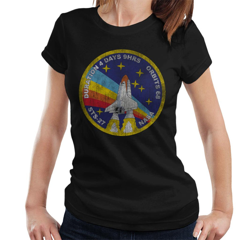 NASA STS 27 Atlantis Mission Badge Distressed Women's T-Shirt - POD66
