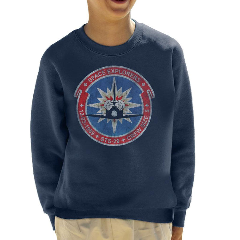 NASA STS 29 Discovery Mission Badge Distressed Kid's Sweatshirt - POD66