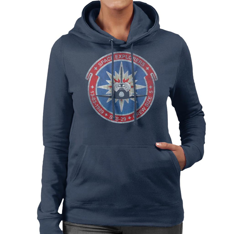 NASA STS 29 Discovery Mission Badge Distressed Women's Hooded Sweatshirt - POD66