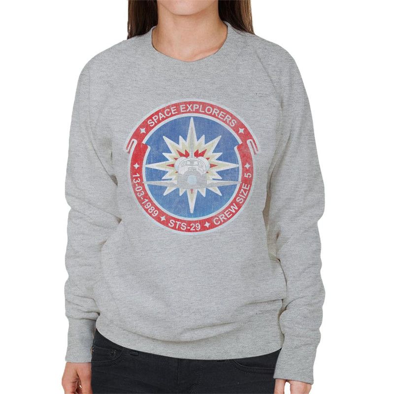 NASA STS 29 Discovery Mission Badge Distressed Women's Sweatshirt - POD66