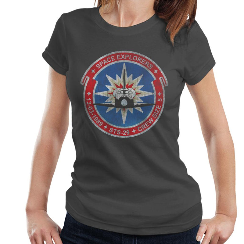 NASA STS 29 Discovery Mission Badge Distressed Women's T-Shirt - POD66